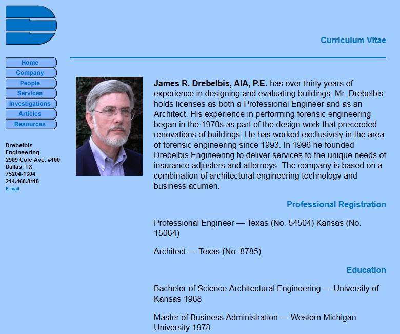 Drebelbis Engineering Resume Page Before