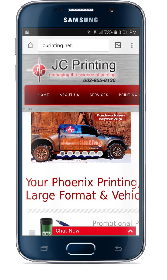 JC Printing Web Site Phone Before