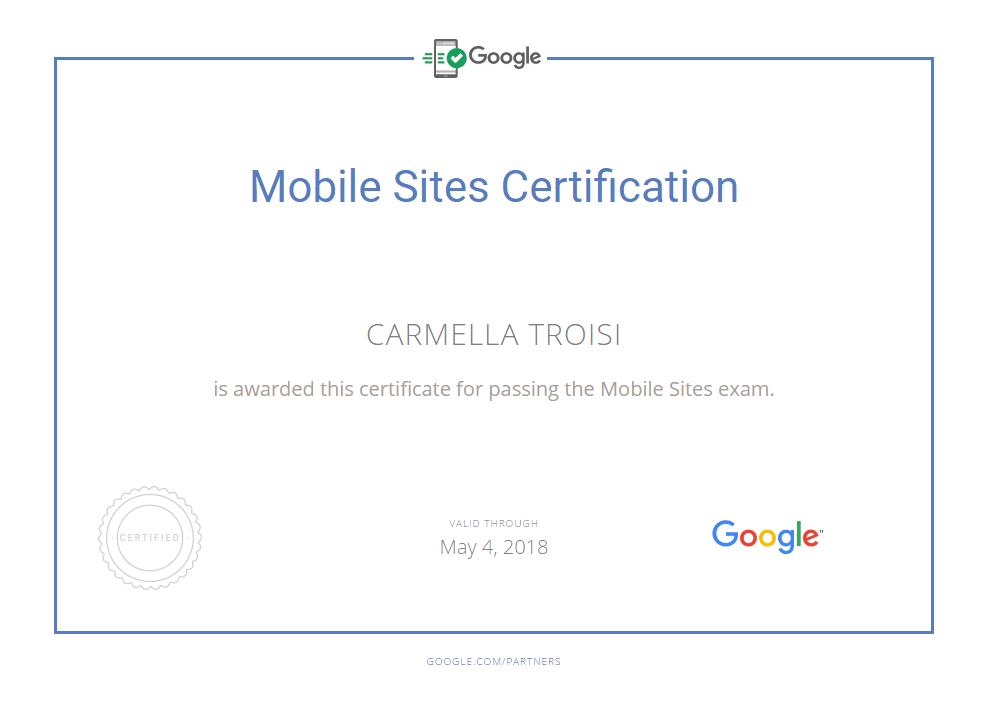 Carmella Google Mobile Sites Certification
