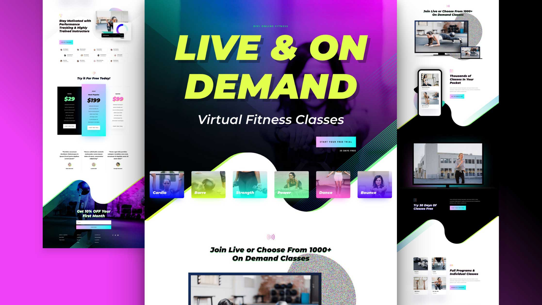 Get a FREE Virtual Fitness Layout Pack for Divi