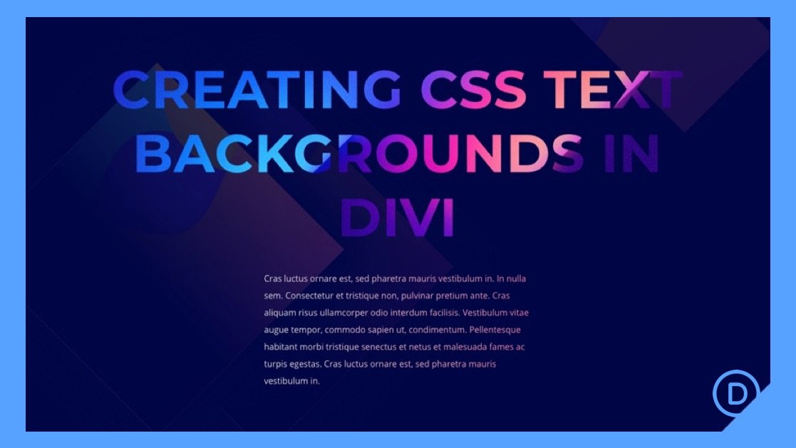 How to Design CSS Text Backgrounds in Divi Using background-clip