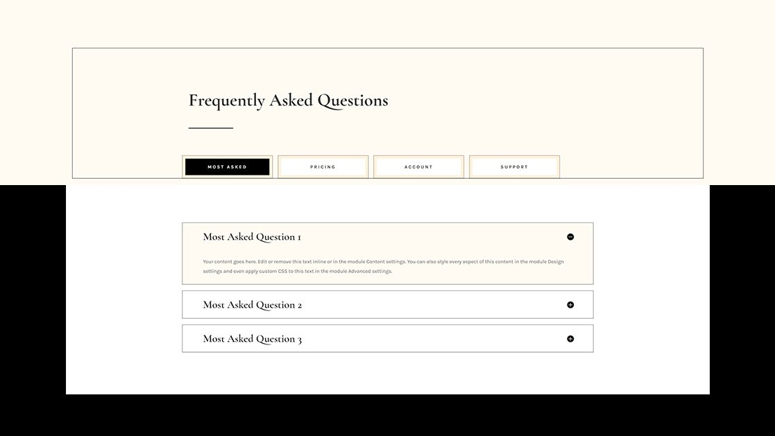 How to Structure Your FAQ with Custom Tabs in Divi