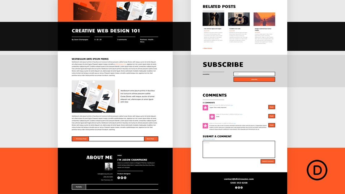Download a FREE Blog Post Template for Divi's Creative CV Layout Pack