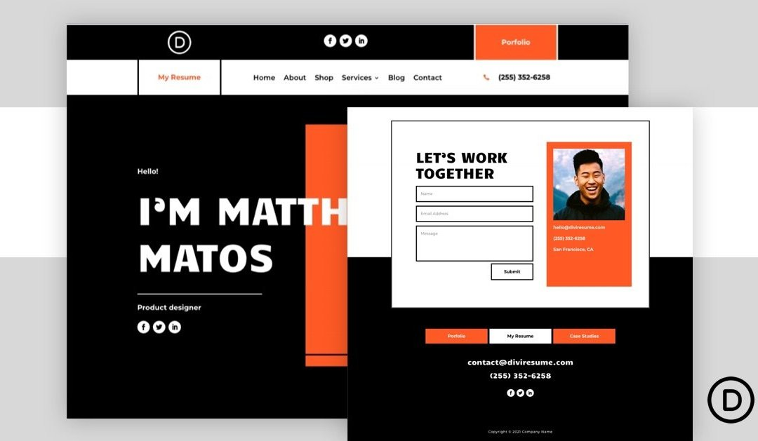Download a FREE Header and Footer Template for Divi's Creative CV Layout Pack