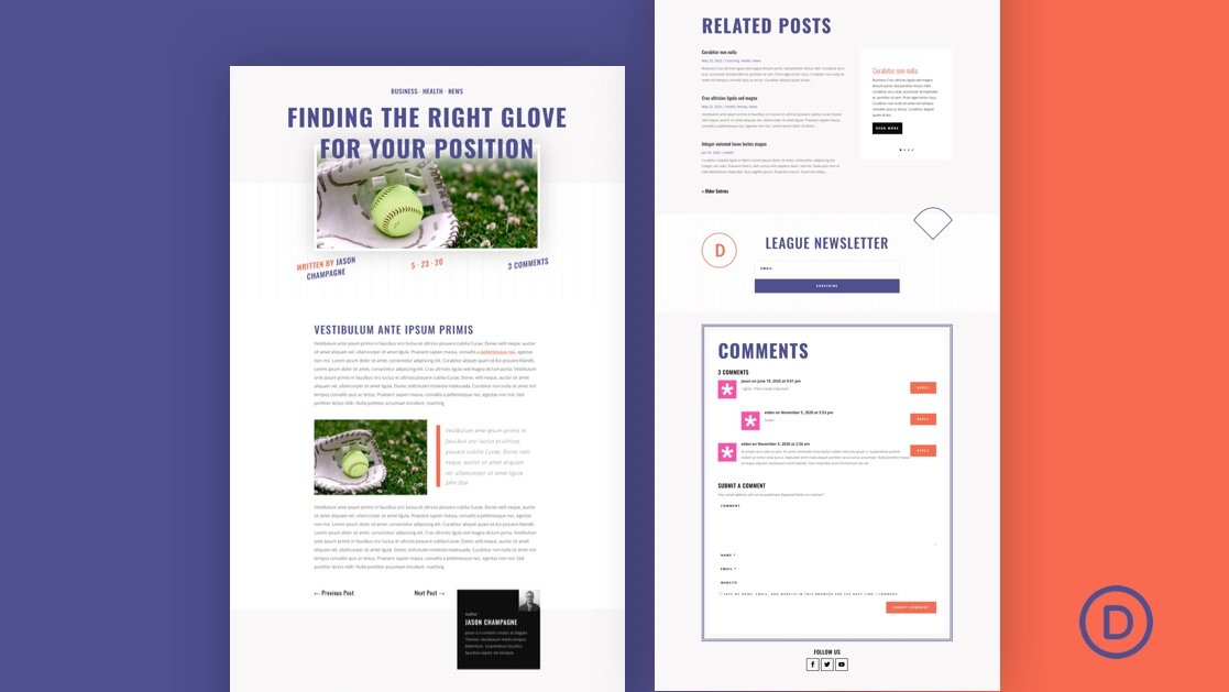 Download a FREE Blog Post Template for Divi's Softball League Layout Pack