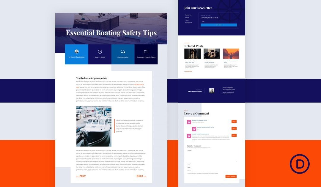 Download a FREE Blog Post Template for Divi's Marina Layout Pack