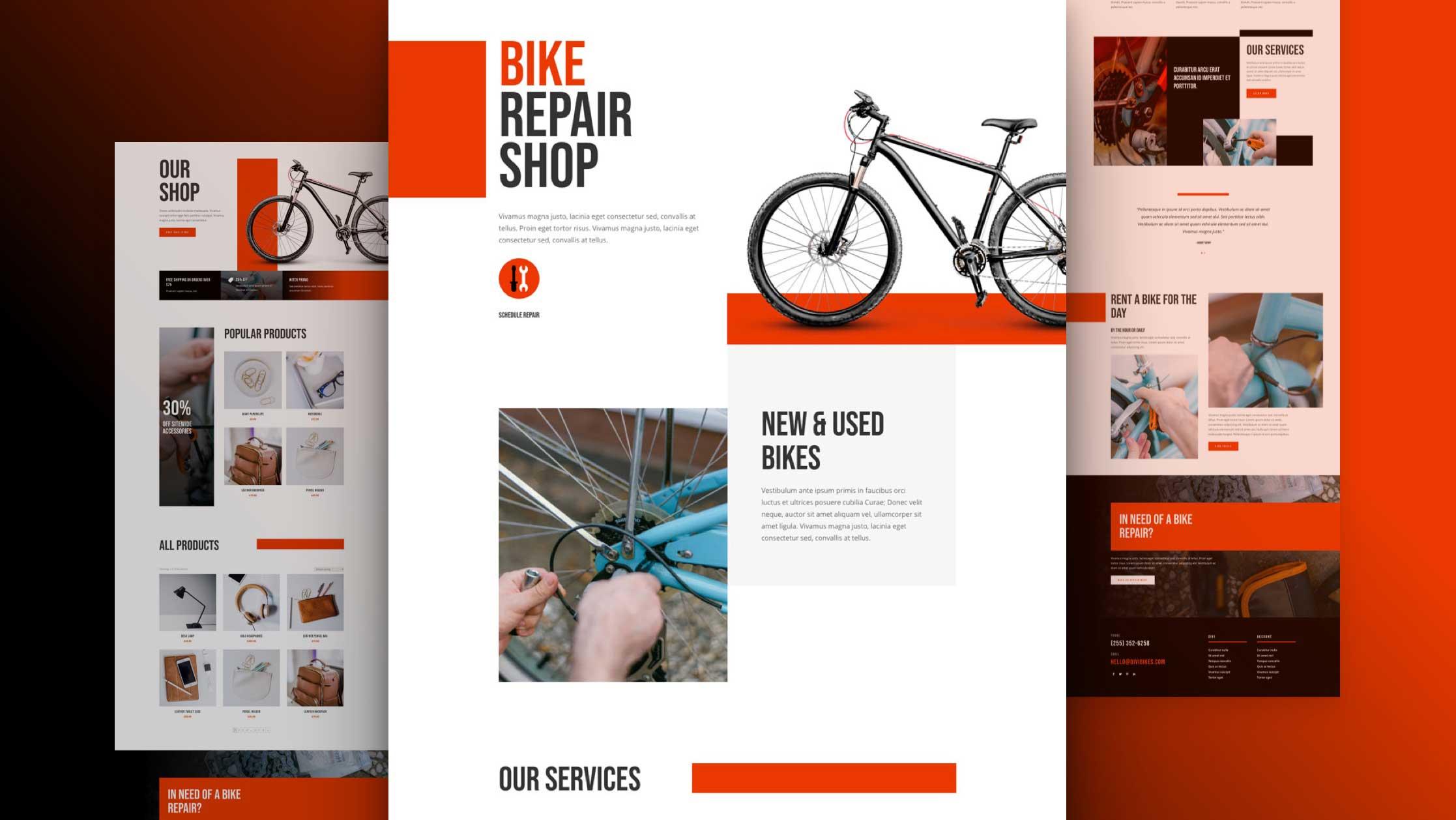 Get a FREE Bike Repair Layout Pack for Divi