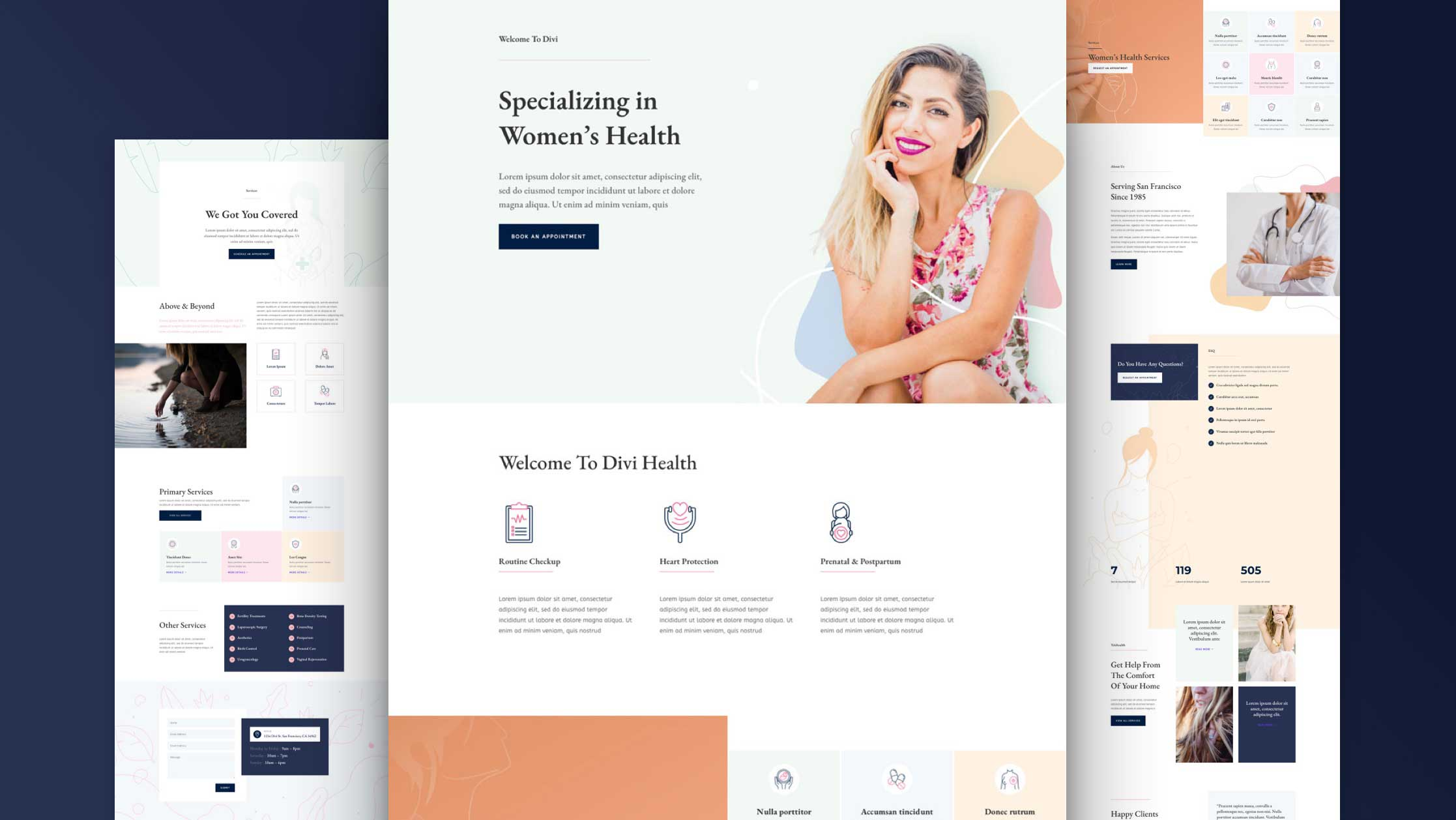 Get a FREE Women's Health Center Layout Pack for Divi