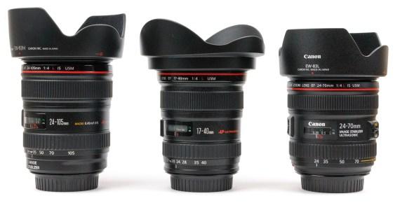 Vergleich Canon EF 24-70mm 4 L IS USM Objektiv 24-105mm 17-40mm