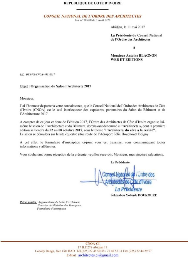 Courrier du CNOA-CI
