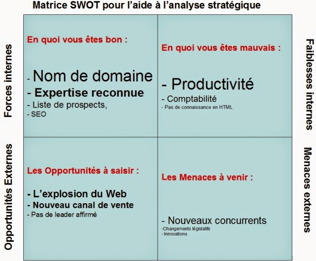 Exemple méthode d'analyse webmarketing, questions réponses SWOT