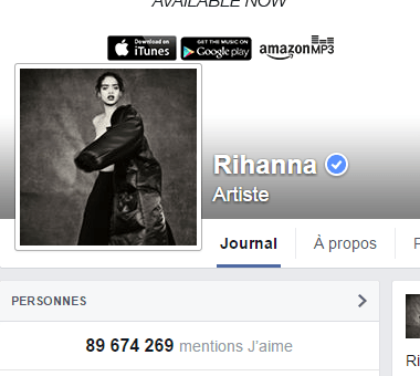 j'aime des top pages N°8 RIHANNA