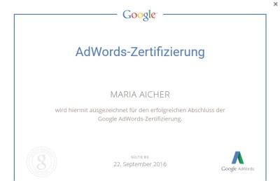 Google AdWords-Zertifikat von Maria Aicher alias Web-Schreibfeder.