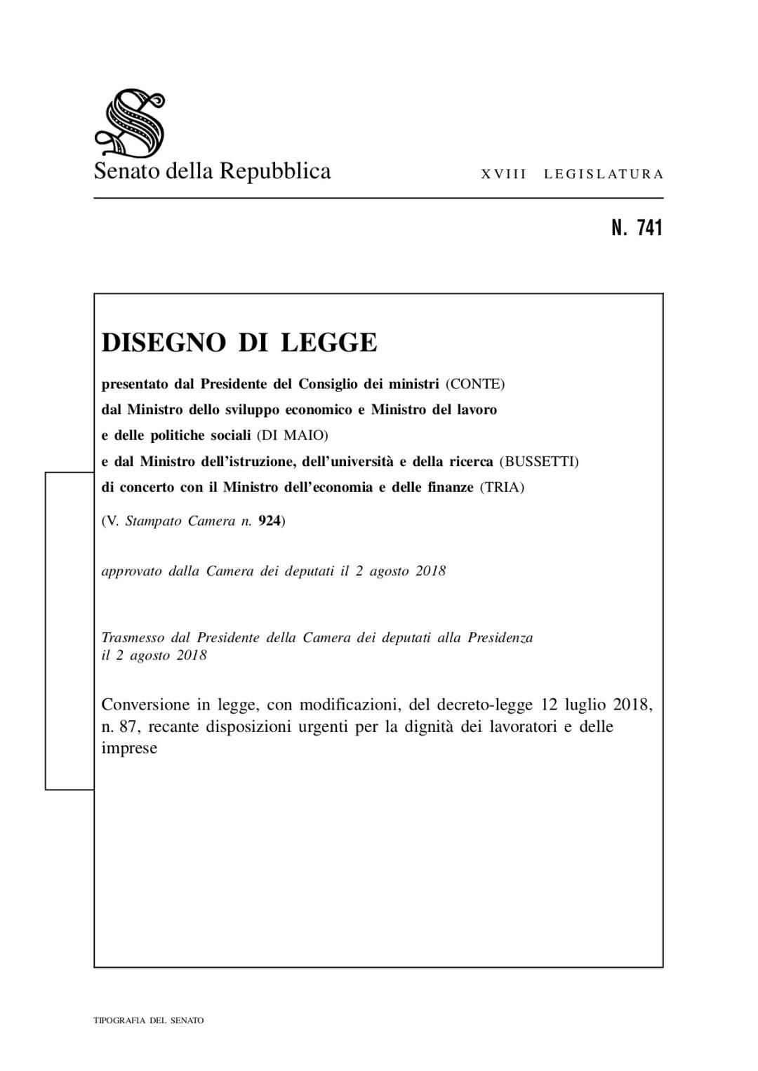Decreto dignità: il testo all'esame del Senato