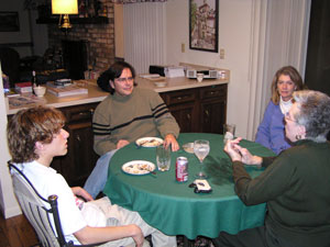 Mike, Phyllis, Matt and Becky at the table