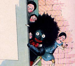 "Florence Kate Upton's Golliwogg and friends, in The Adventures of two Dutch Dolls And A Golliwogg, published in 1895. Fashioned after a minstrel doll and described as ""a horrid sight, the blackest gnome,"" he was the introduction to black people for many children."