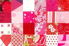 Red, Cotton Candy Pink, Hot Pink, & White Squares Postcard