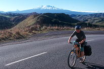 Cycling with Mt Ruapehu in background