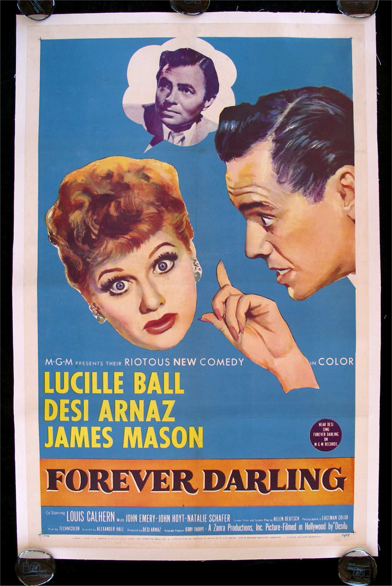 Forever Darling movie poster starring Lucille Ball, Desi Arnaz and James Mason.