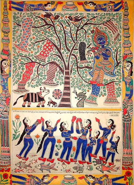 Krishna sitting in a tree stealing the garments of the Gopis