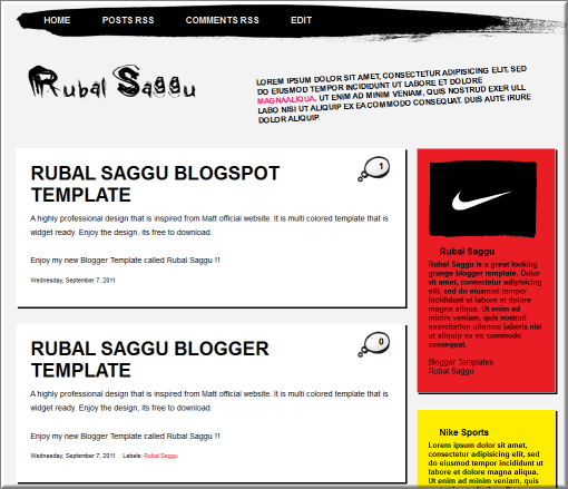 Rubal Saggu blogger template