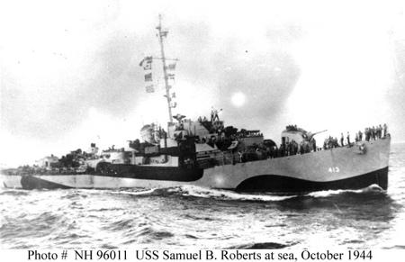 DE 413, a U.S. Navy Butler-class destroyer escort, shown in naval camouflage not long before the Battle off Samar.