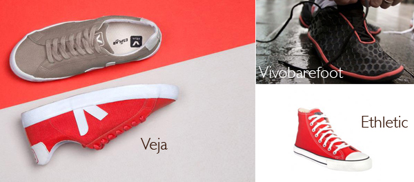 Ethical shoes featuring Vivobarefoot, Ethletic and Veja