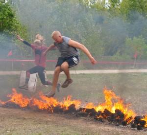 Warrior Roast obstacle at The Warrior Dash in Grand Rapids, MI