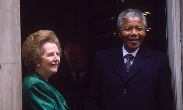 NELSON MANDELA WITH MARGARET THATCHER OUTSIDE TEN DOWNING STREET, LONDON, BRITAIN - 1990