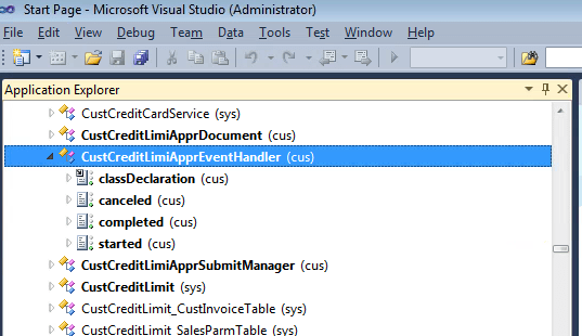 Applicationexplorer in visual studio
