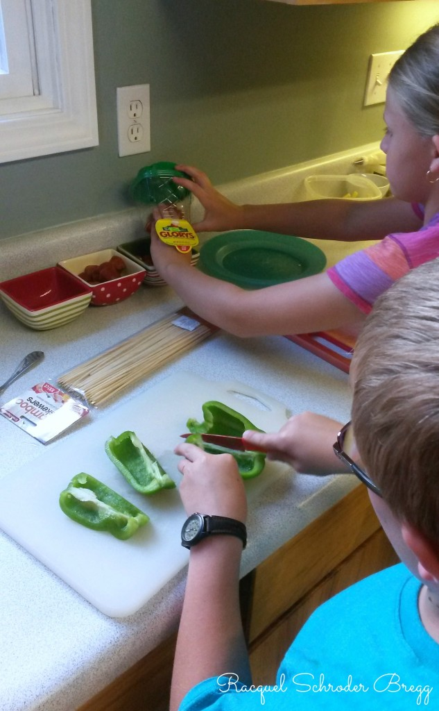 pizza kabobs kids prepping