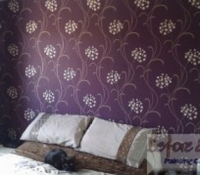 Arthouse - Mia Mulberry Wallpaper hung in a master bedrooom in Kemsley, Sittingbourne.