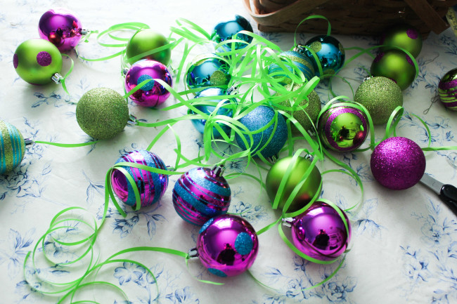 Blue, Green and Purple Ornaments