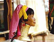 A woman from the 'Long Neck' Karen tribe that inhabitants a region of Asia spanning Myanmar and Thailand.