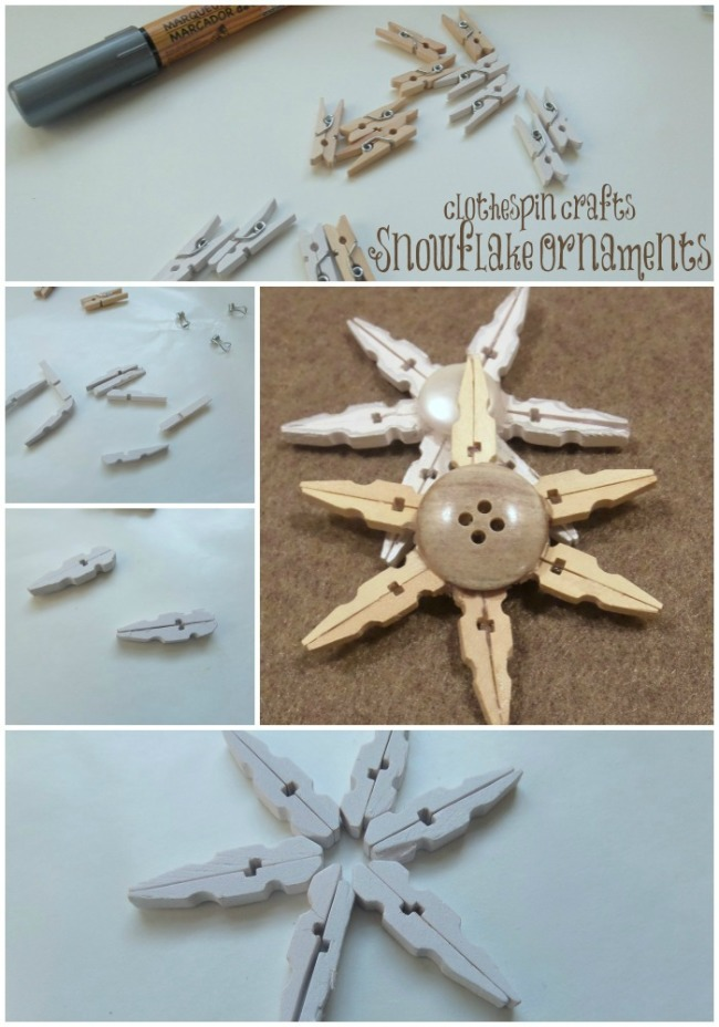 clothespin crafts snowflake ornament