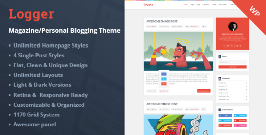 logger wordpress blog theme