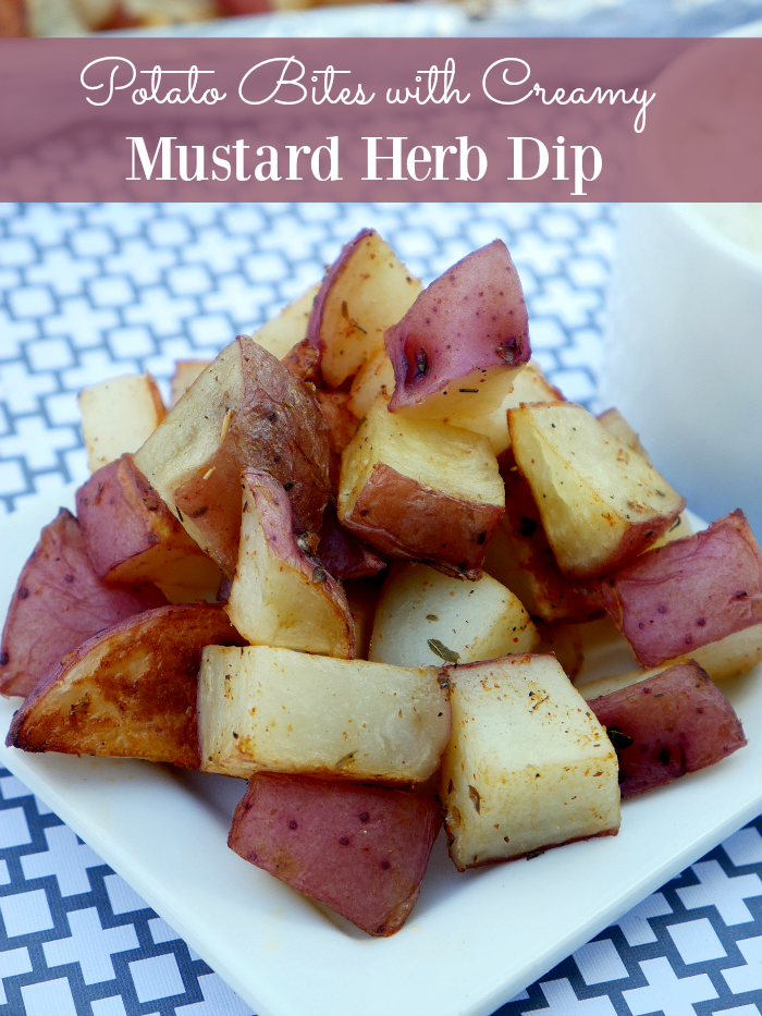 Potato Bites with Creamy Mustard Herb Dip