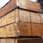damaged plywood crates on the stack at the consignee's premises at al awir