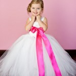 White and Hot Pink Flower Girl Tutu Dresses