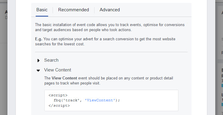 View Content Basic Code