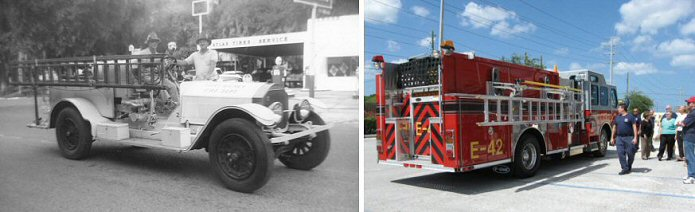 Port Richey Fire Department vehicles past and present.