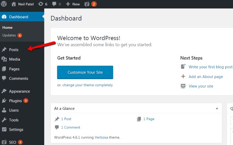 Click on Posts in WordPress