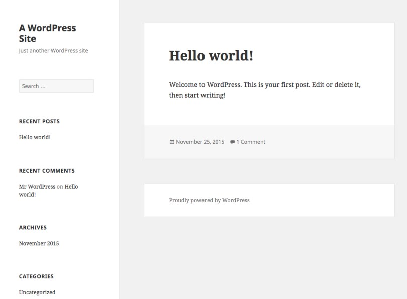 Default WordPress blog before you've picked a theme