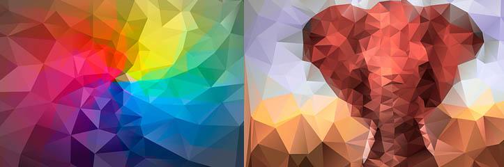 ローポリバックグラウンド:530 幾何学的なバックグラウンドのメガパック