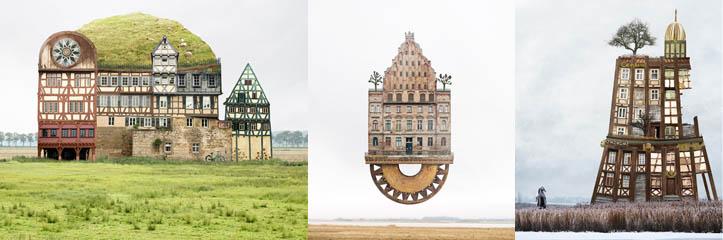 matthias jungが超現実的な、そして構造上不可能な家庭のモンタージュを作ります