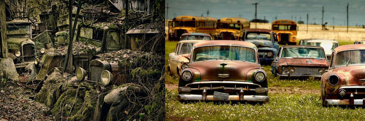 間に合わせの自動車墓地に捨てられた自動車