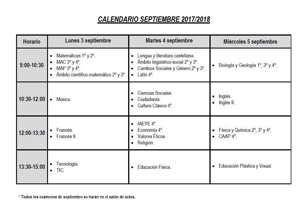 Calendario De Examenes.Calendario De Examenes De La Convocatoria De Septiembre 2018 Ies