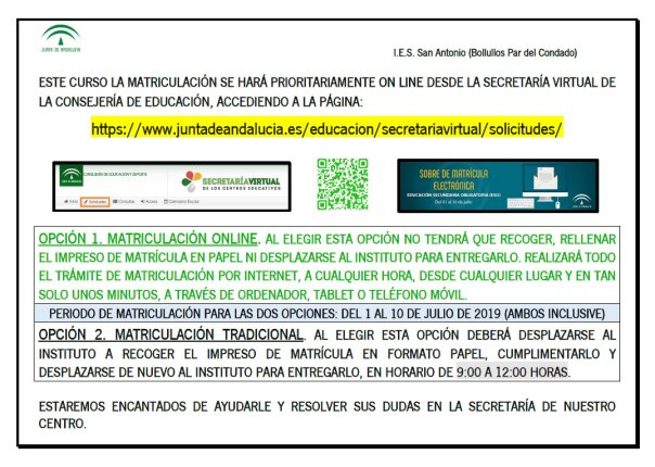 Matriculación curso 2019-2020 IES San Antonio