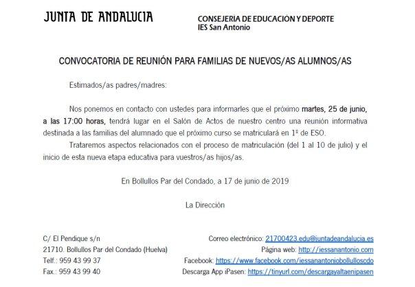 Reunion bienvenida familias 1ESO - informacion etapa y matricula - junio 2019