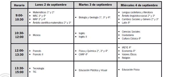 Calendario De Examenes.Calendario De Examenes De La Convocatoria De Septiembre 2019 Ies